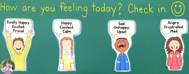 """""""How are you feeling today?"""" check-in board."""