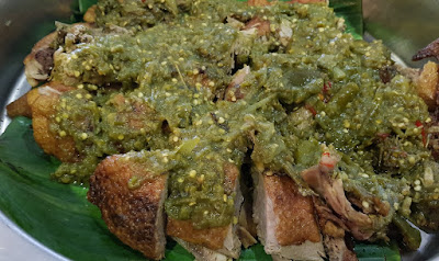 The bebek cabai ijo, Indonesian braised duck in a green chilli sauce