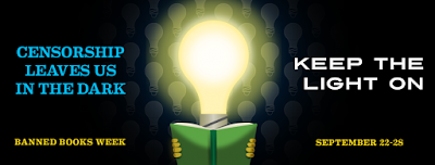 artwork of a lightbulb person reading a book. Censorship Leaves Us In The Dark. Keep the LIghts on. Banned Books Week. September 22-29