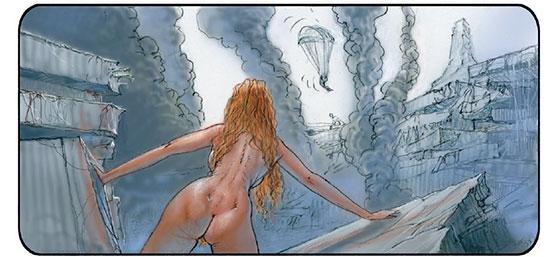 Evy au milieu des ruines aperçoit un parachutiste