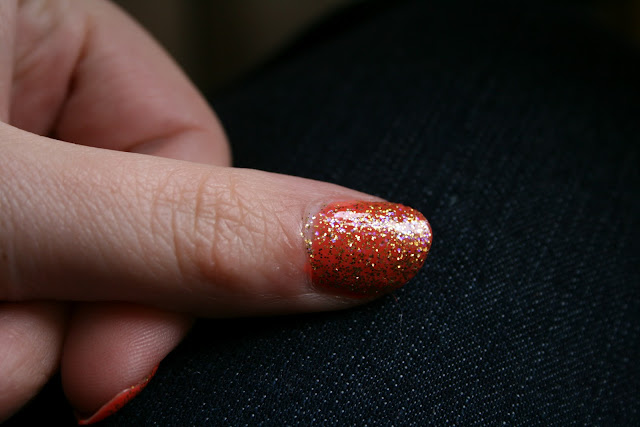 Inspired by Zoella, Orange, Glitter, nails, ELF, Beauty UK