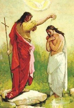 Imagen del Bautizo de Jesús por Juan El Bautista en el Río Jordán