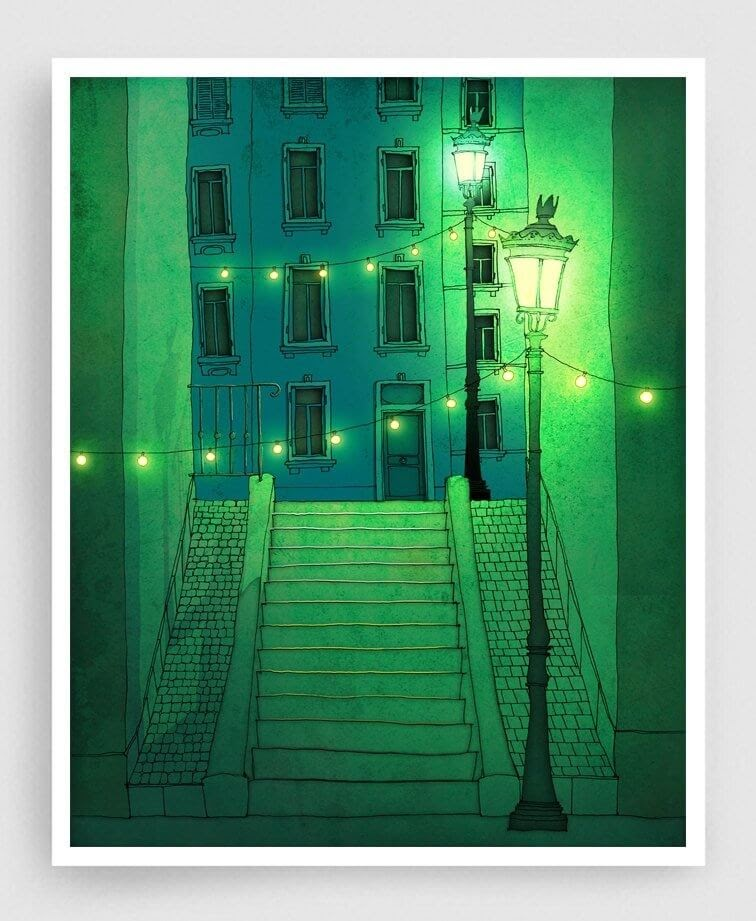 09-Night-Walking-Montmartre-Brigitta-Paris-Illustrations-Colorful-Architecture-www-designstack-co