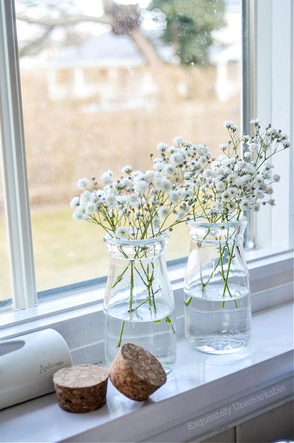 Baby's Breath in vases on the window