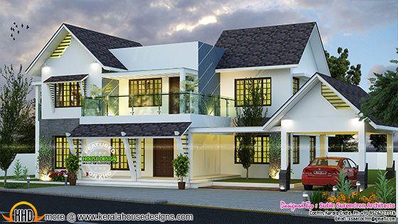 Modern slope roof residence