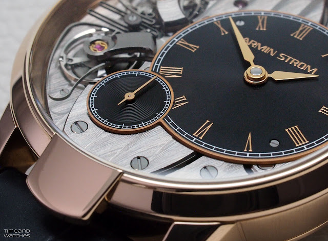 A dial detail of the Armin Strom Pure Resonance Fire