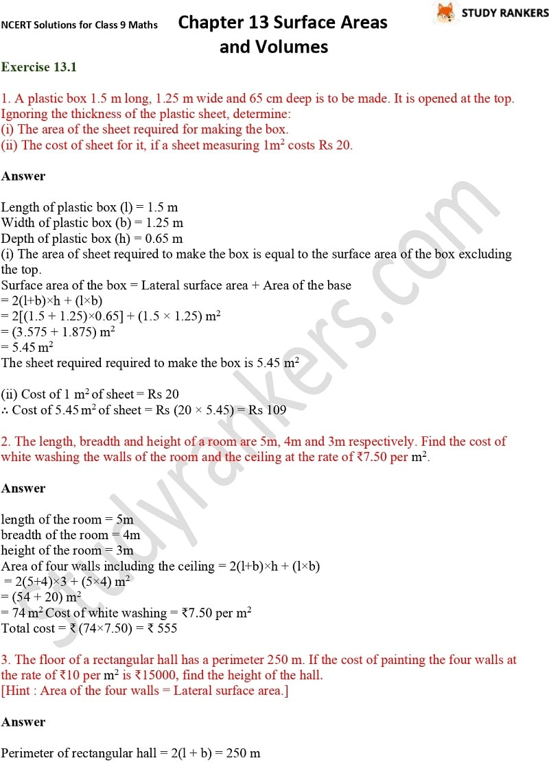 NCERT Solutions for Class 9 Maths Chapter 13 Surface Areas and Volumes Part 1