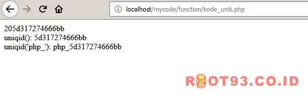 Membuat Kode Unik Menggunakan uniqid PHP - root93