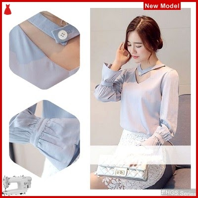 FHGS9179 Model Blouse Hadid Blouse, Crepe Perempuan Wolly Biru BMG