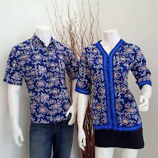 seragam batik blouse mega mendung biru