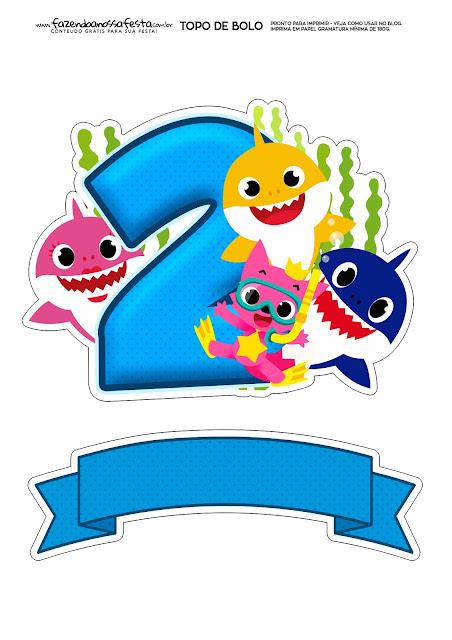 Fiesta de Baby Shark con el número 2: Toppers para Tartas, Bizcochos o Pasteles para Imprimir Gratis.