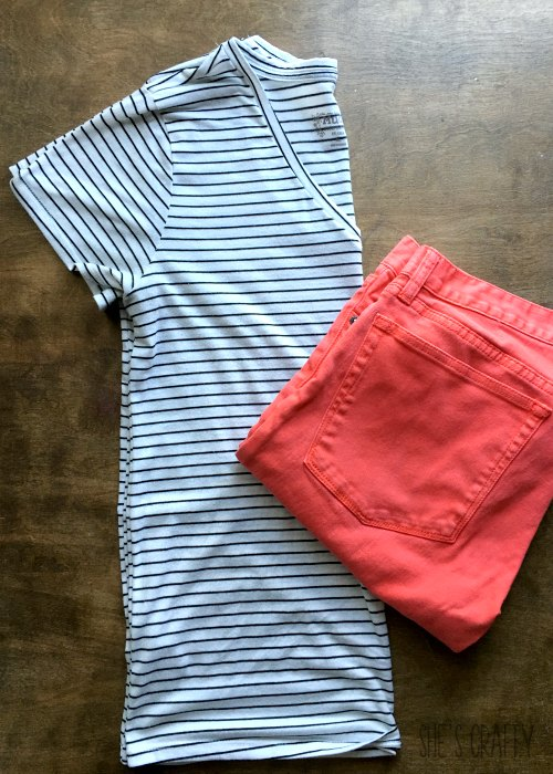 black and white striped shirt, colored jeans
