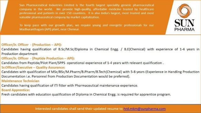 Sun Pharma | Urgent opening for Production/QA/Maintenance at Chennai | Send CV