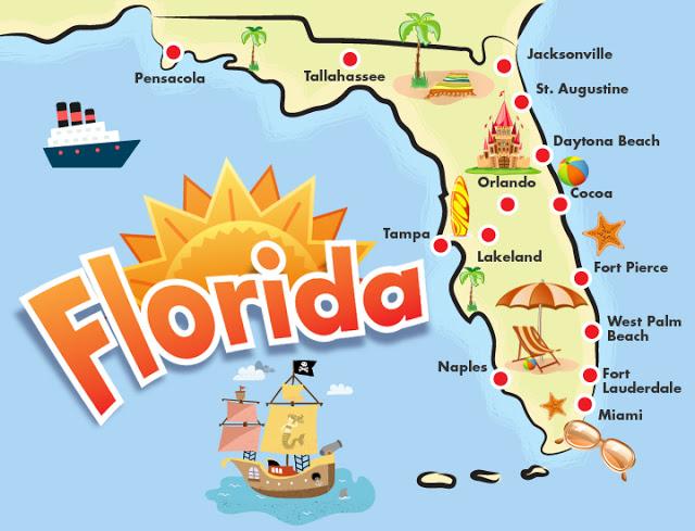 Mapa - ruta en coche y autos por la Florida