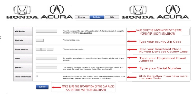 Radio Navicode Honda Com >> H A Vip Benefit Team Access Key Universal Car Radio Code