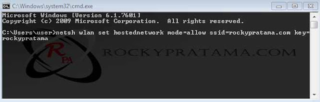 netsh wlan set hostednetwork mode=allow ssid=rockypratama.com key=rockypratama