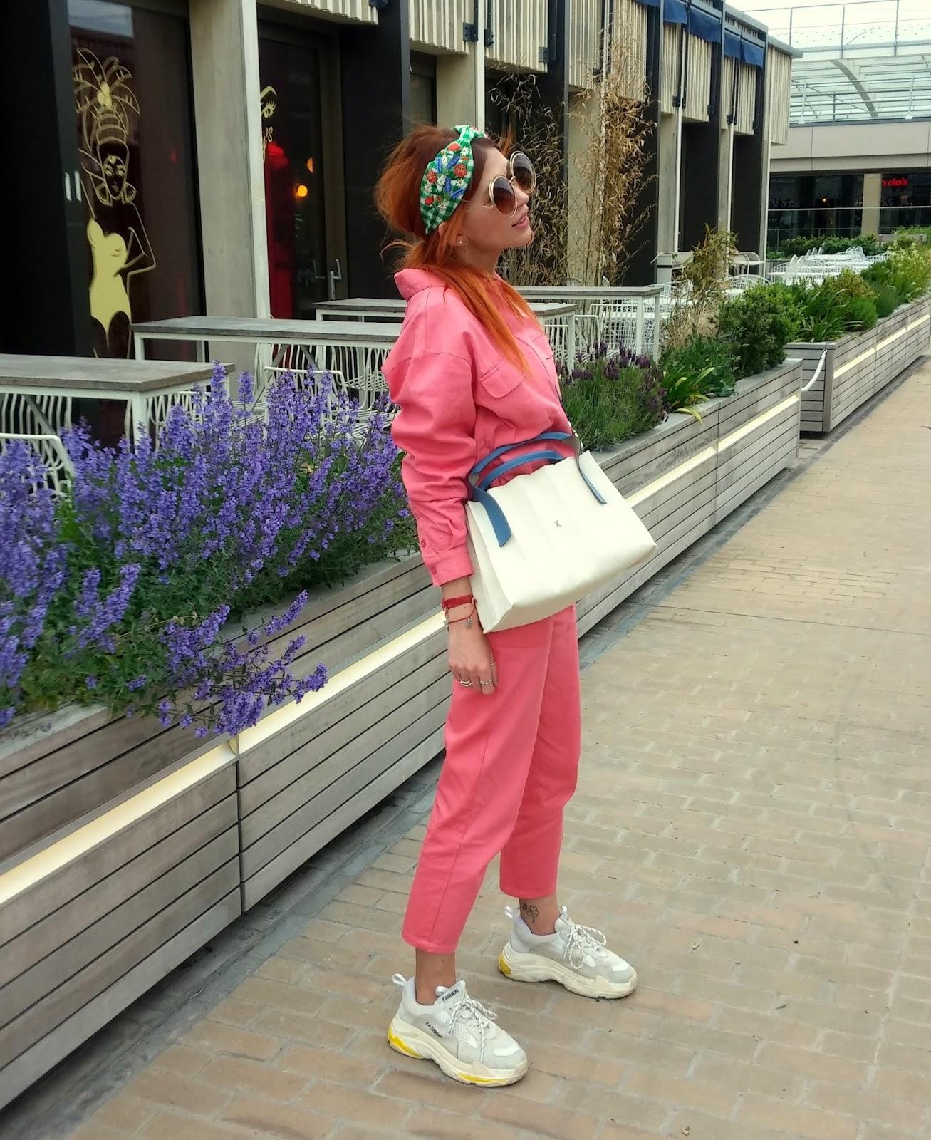 Joseph & Stacey bag/ pink boiler suit