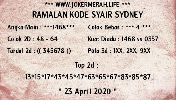 Prediksi Togel Sidney Kamis 23 April 2020 - Joker Merah Sidney