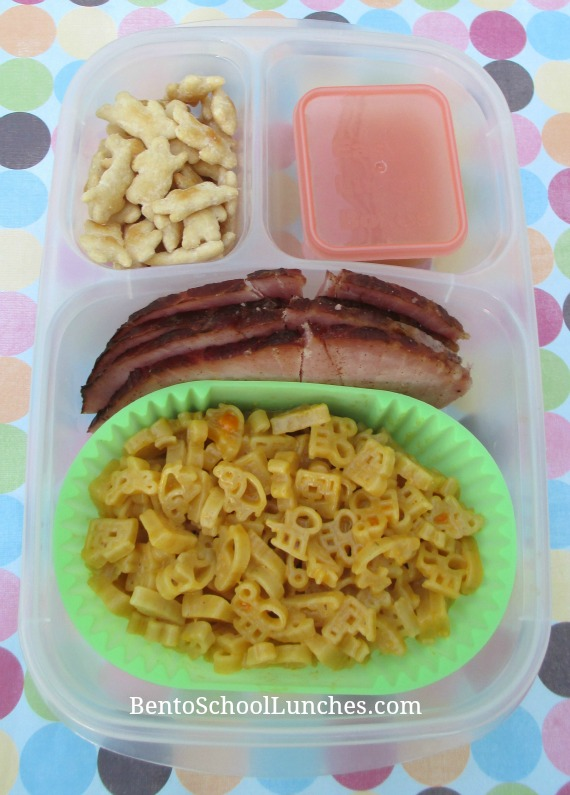 Leftover ham, mac and cheese for lunch