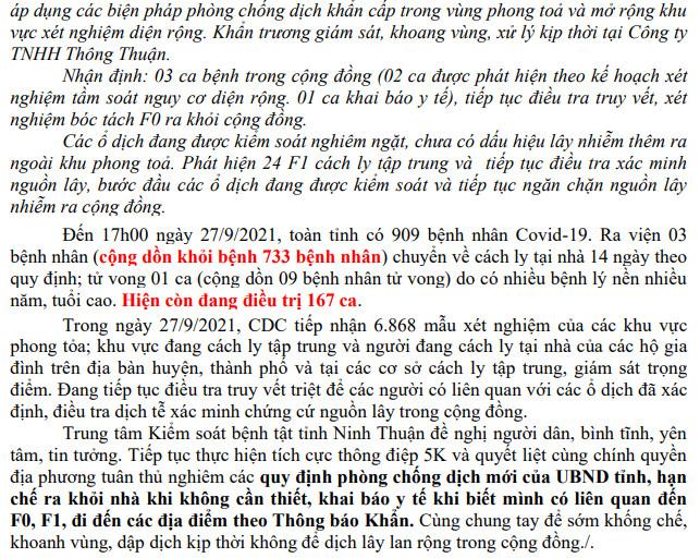 Ngày 27-9 Ninh Thuận ghi nhận 9 ca mắc Covid-19 mới trên địa bàn tỉnh