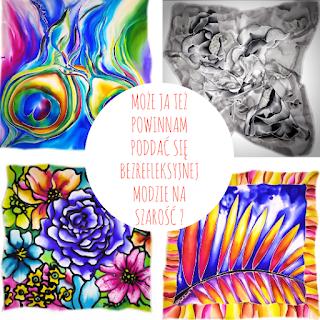 grafika , cztery apaszki kolorowe, ręcznie malowane