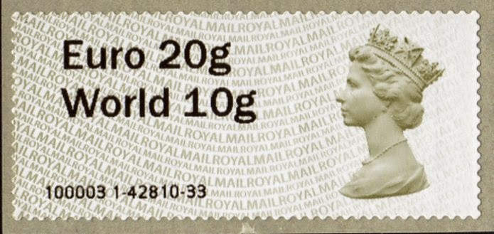 undated Machin Faststamp Euro20/World10 from Wincor machine.