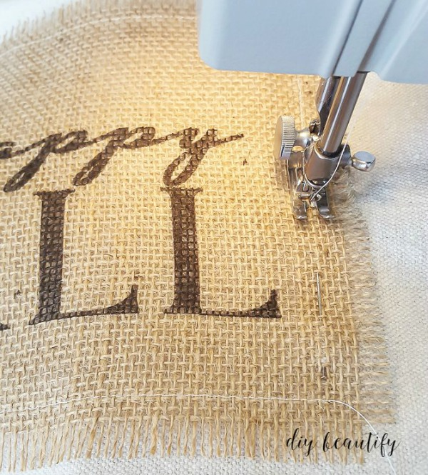 sew burlap to pillow cover