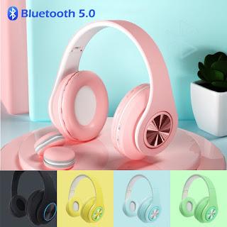 Headphone Bluetooth Bando P33 Macaron Headset Inpods 5.0 Surround Bass - Hitam