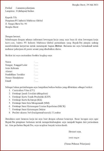 Contoh Application Letter Untuk Driver Hotel (Fresh Graduate) Berdasarkan Informasi Dari Website