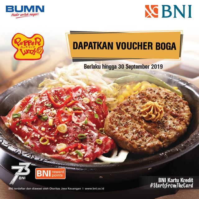 #BankBNI - #Promo Dapatkan Voucher Boga 50K Min Transaksi 300K Pakai BNI (s.d 30 Sept 2019)