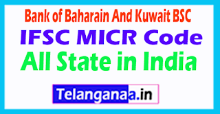 Bank of Baharain IFSC MICR Code All State in India