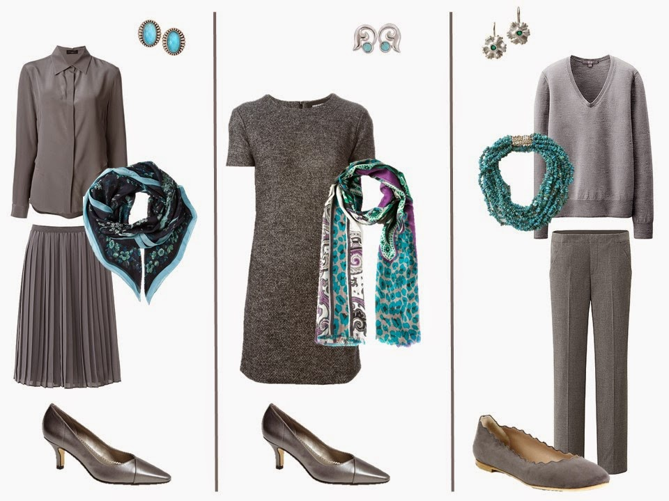 Three grey outfits with turquoise accessories