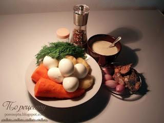 Яйца, картофель, морковь, сардины, лук, укроп, майонез, соль и перец