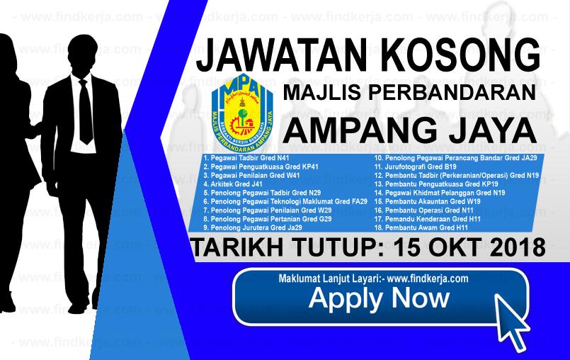 Jawatan Kerja Kosong MPAJ - Majlis Perbandaran Ampang Jaya logo www.ohjob.info www.findkerja.com oktober 2018