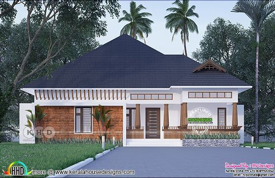 Day light view rendering of Traditional Kerala sloping roof style