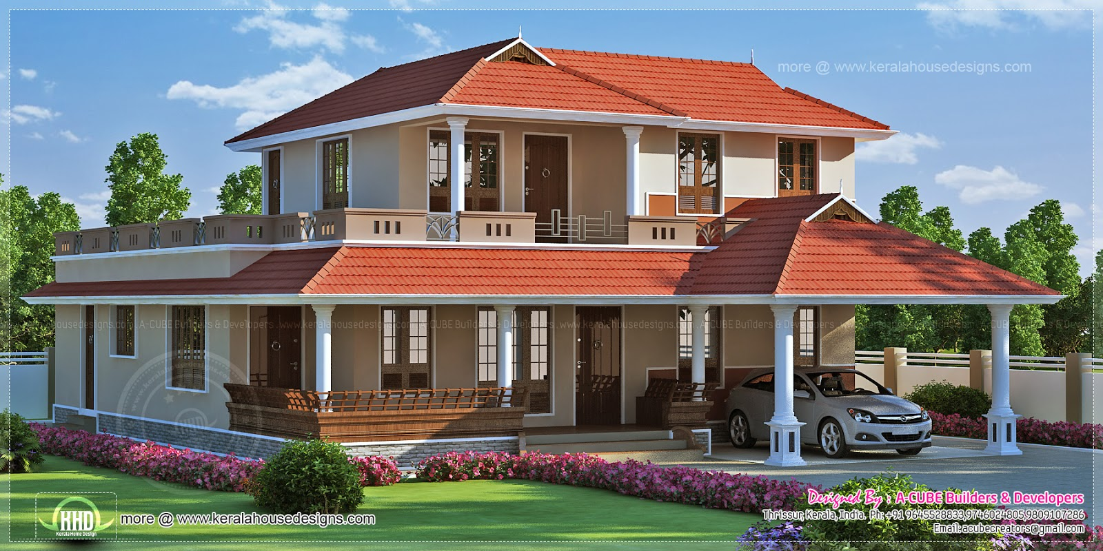 2834 square feet kerala model villa exterior kerala home for Two floor house plans in kerala