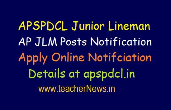 APSPDCL Junior Lineman (JLM) Posts Apply Online Notification at apspdcl.in