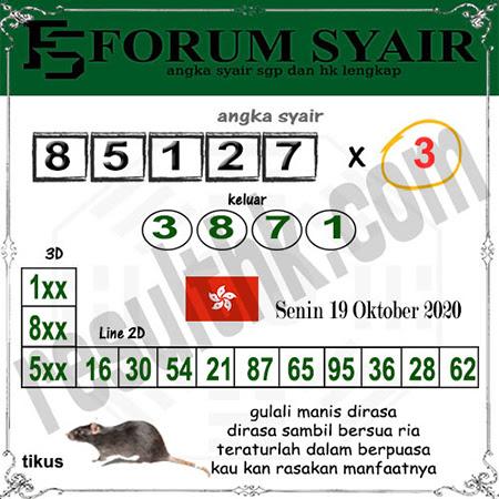 Forum Syair HK Senin 19 Oktober 2020