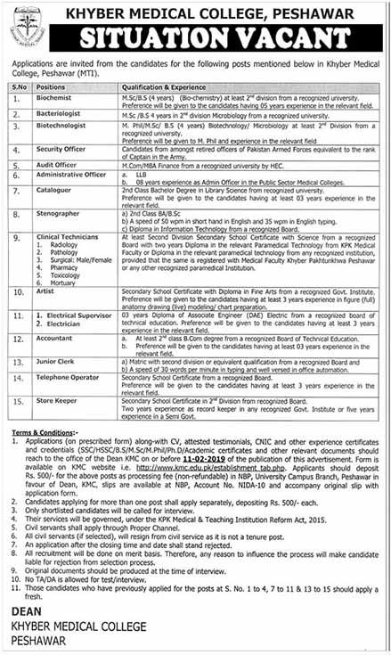 35 Jobs in Khyber Medical College Peshawar