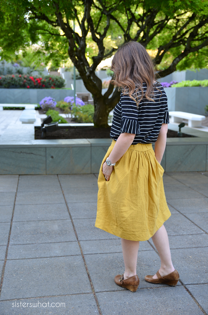 easy woman gathered linen skirt