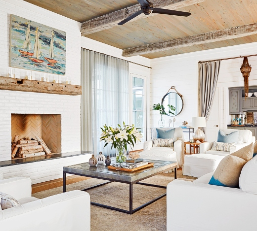 Coastal Farmhouse Style Beach House With Industrial Design Touches Coastal Decor Ideas Interior Design Diy Shopping
