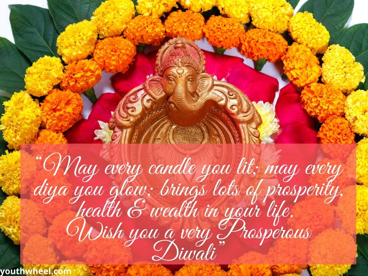 Lord Ganesh Beautiful Pic with quotes for Diwali