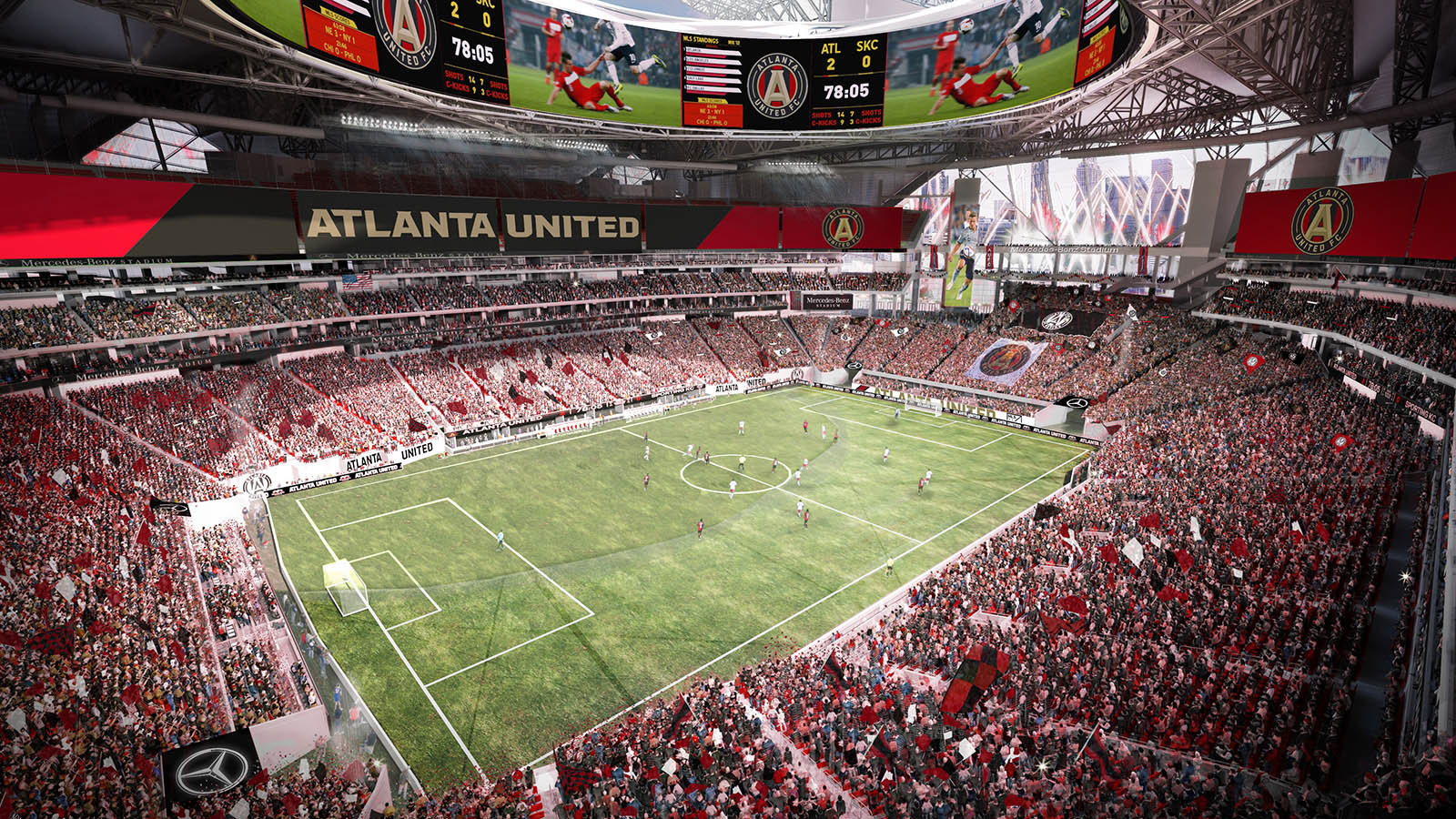 Insane mercedes benz stadium revealed footy headlines for Atlanta ga mercedes benz stadium
