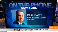 Icahn to Bloomberg TV: We are not leaving Apple; Cook agrees stock is cheap; Buyback a no-brainer