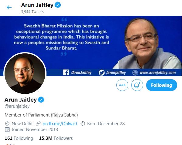 Former Finance Minister Arun Jaitley Twitter Followers