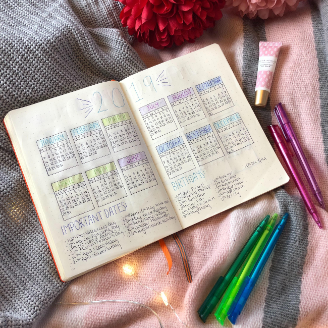 2019 calendar in bullet journal