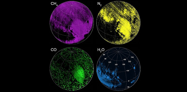 "New Horizons not only showed humanity what Pluto looks like, but also provided information on the composition of Pluto's atmosphere and surface. These maps — assembled using data from the Ralph instrument — indicate regions rich in methane (CH4), nitrogen (N2), carbon monoxide (CO) and water (H2O) ices. Sputnik Planitia shows an especially strong signature of nitrogen near the equator. SwRI scientists combined these data with Rosetta's comet 67P data to develop a proposed ""giant comet"" model for Pluto formation. Credit:  Image Courtesy of NASA/Johns Hopkins University Applied Physics Laboratory/Southwest Research Institute"