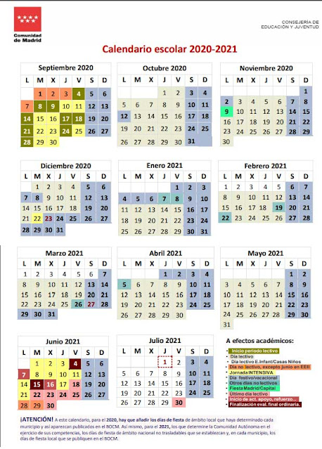 calendario escolar Madrid curso 2020-2021