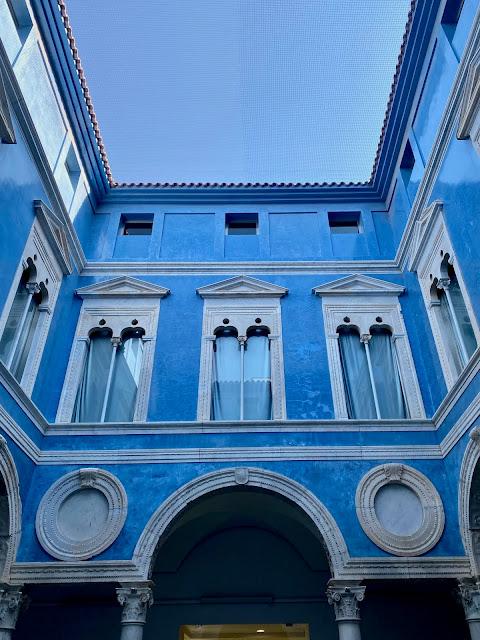 Blue buildings in a courtyard of the Museo de Bellas Artes, Valencia, Spain
