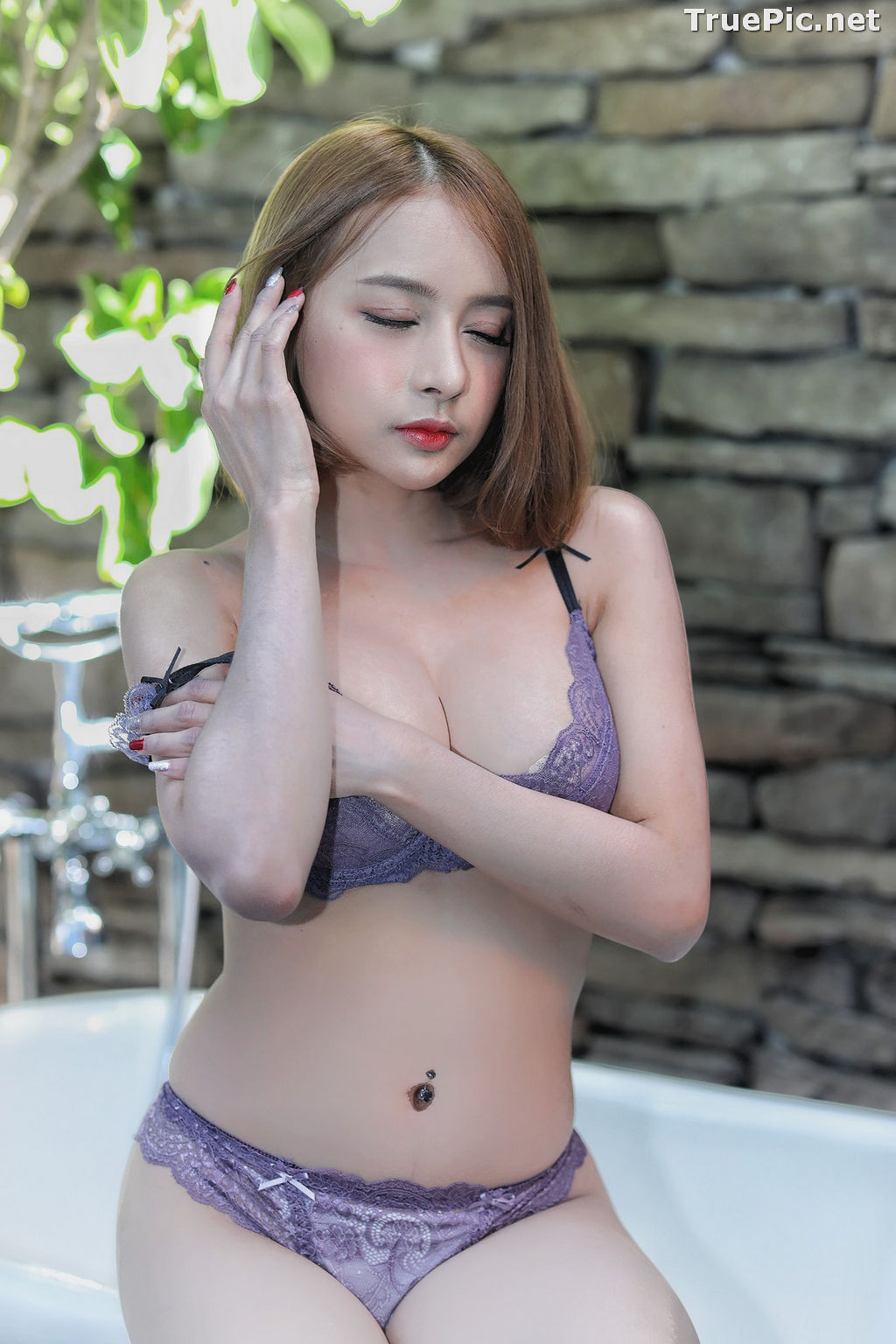 Image Thailand Model - ธนพร อ้นเซ่ง - Sexy In Purple Lingerie - TruePic.net - Picture-5